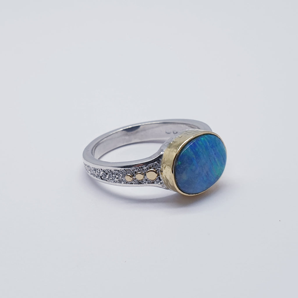 One-off Opal 18K Gold and Sterling Silver Ring - Size Q
