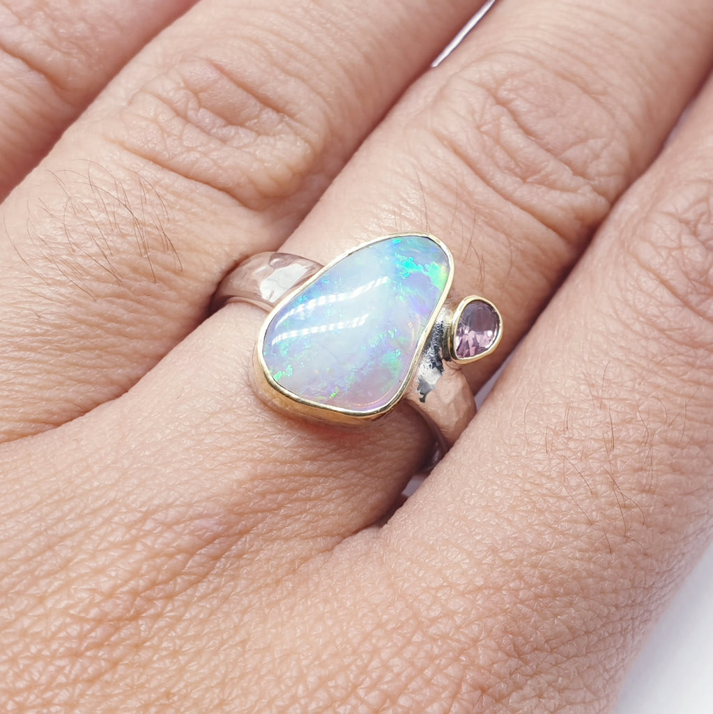 One-off Opal and Tourmaline 18K Gold and Sterling Silver Ring - Size N