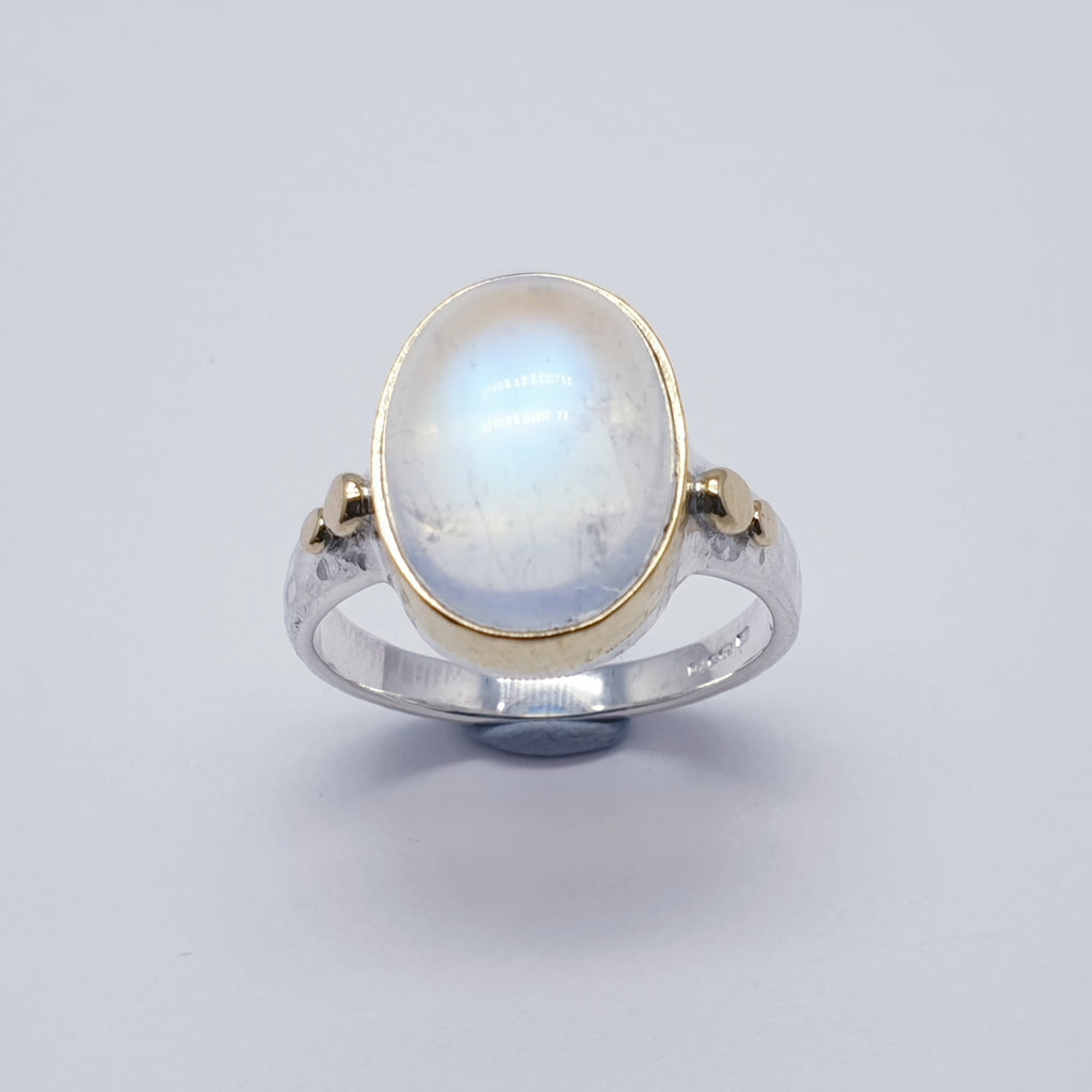 One-off Blue Moonstone 18K Gold and Sterling Silver Ring - Size R