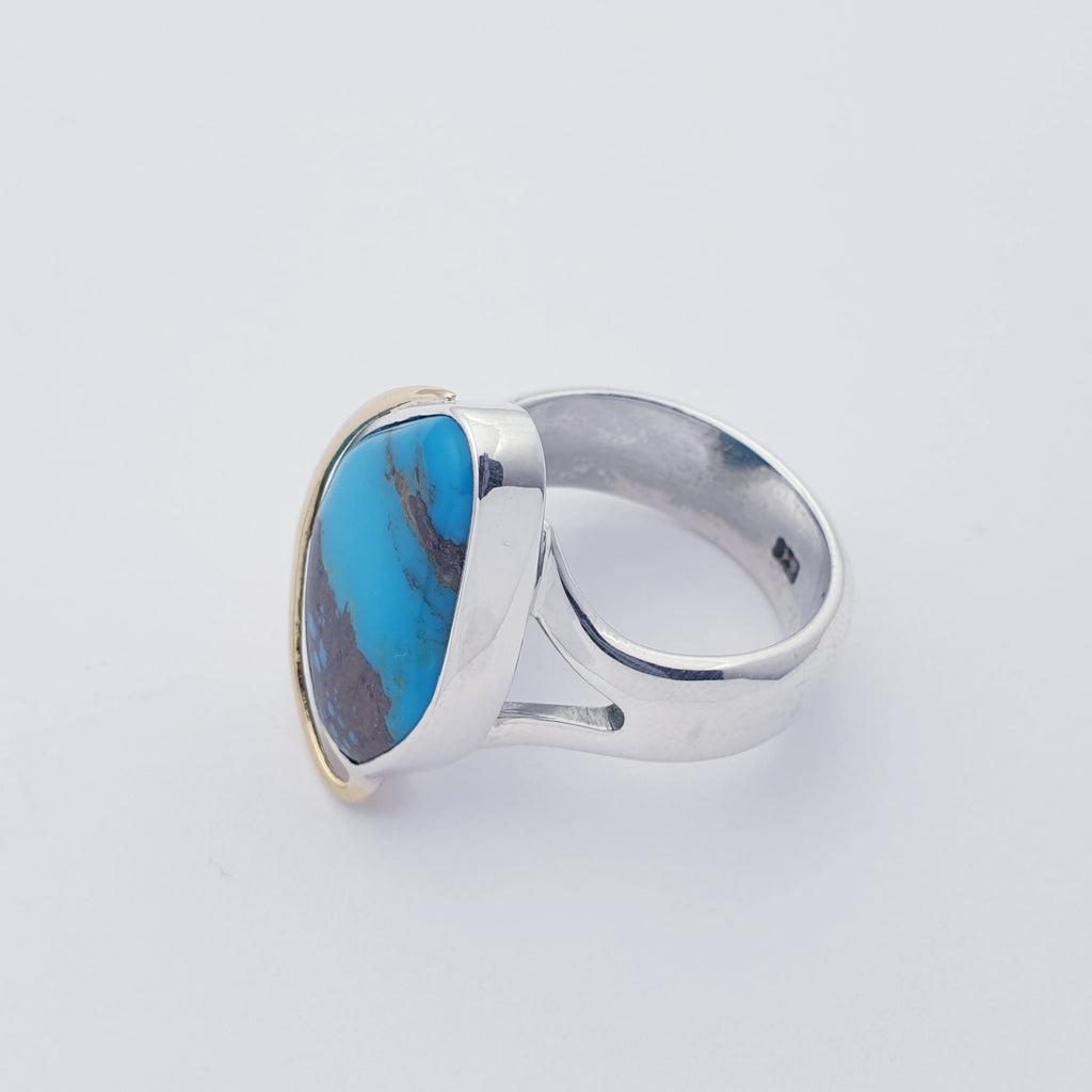 One-off Turquoise 18K Gold and Sterling Silver Ring - Size O