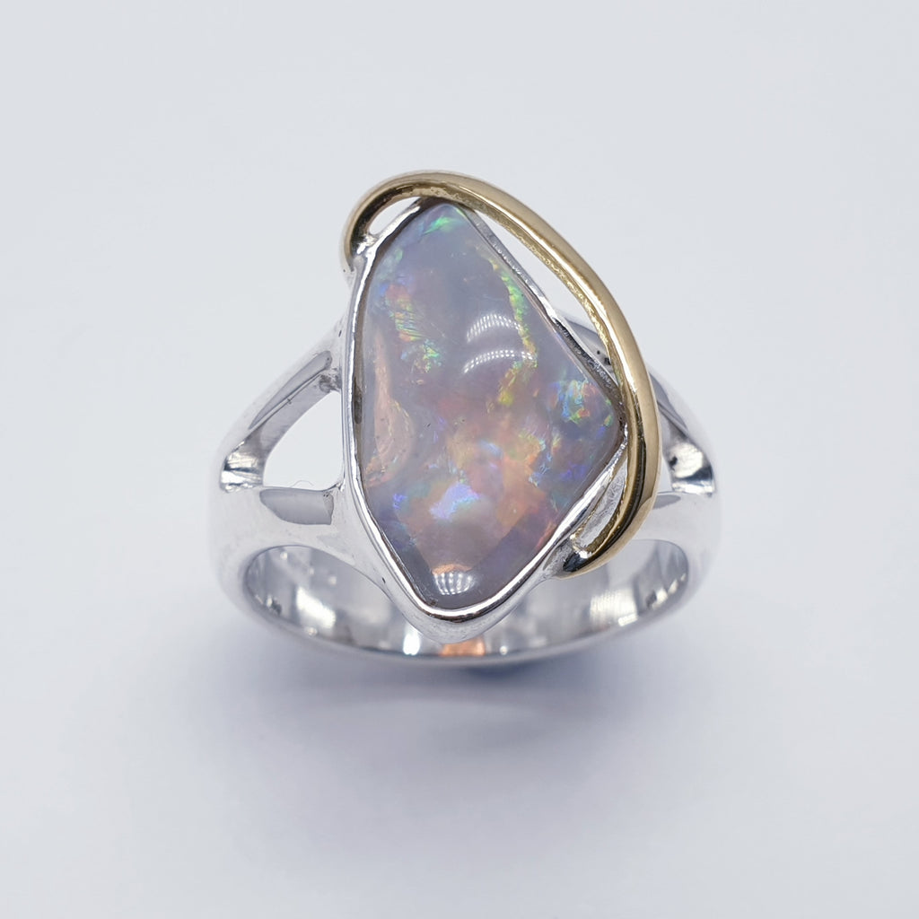 One-off Purple Opal Shell 18K Gold and Sterling Silver Ring - Size N