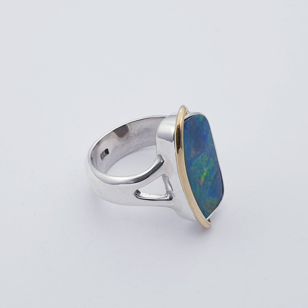 One-off Purple Opal 18K Gold and Sterling Silver Ring - Size P