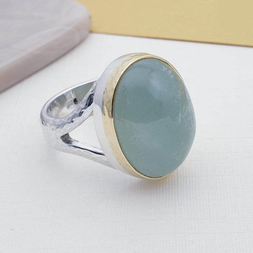 One-off Aquamarine 18K Gold and Sterling Silver Ring - Size Q1/2