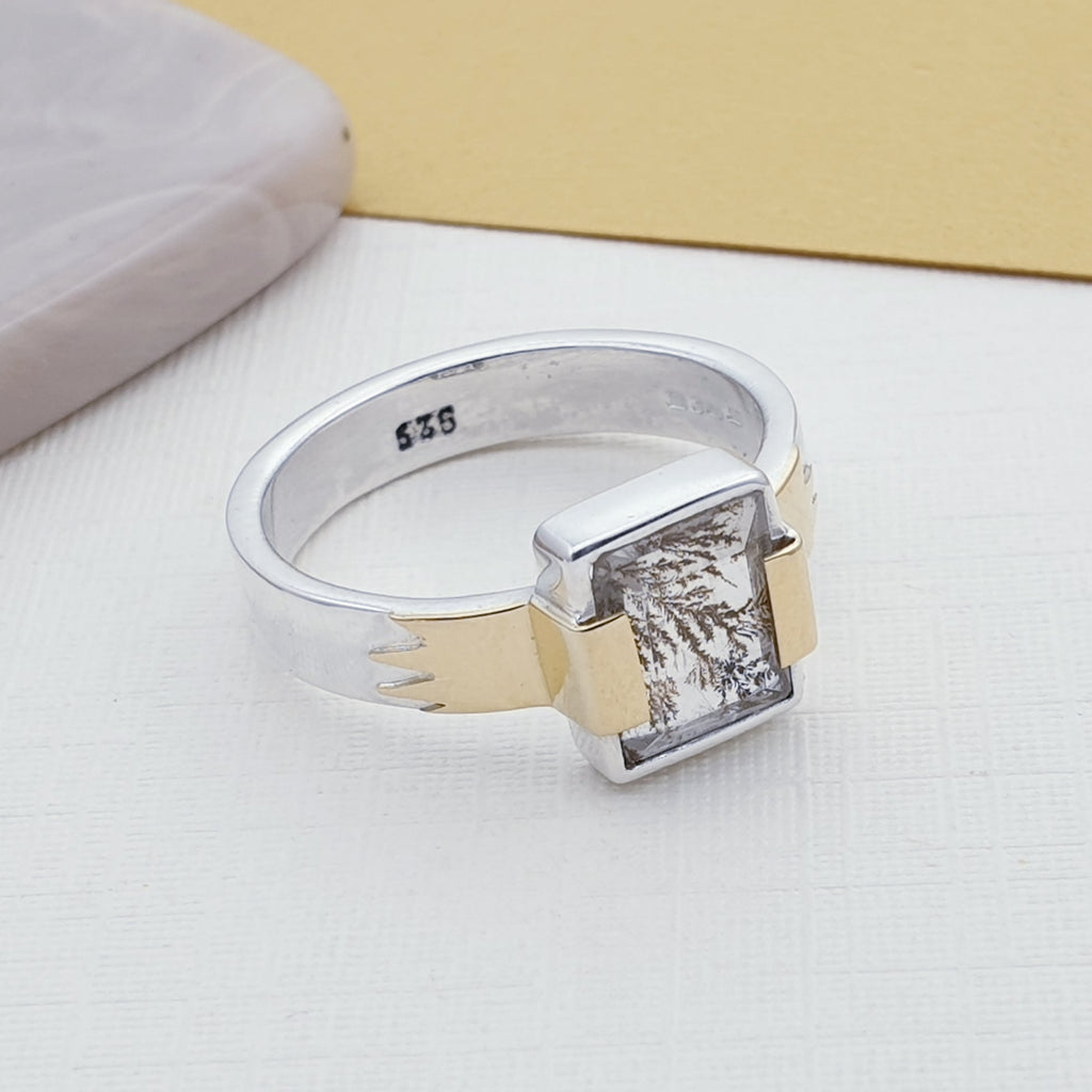 One-off Dendritic Quartz 18K Gold and Sterling Silver Ring - Size Q