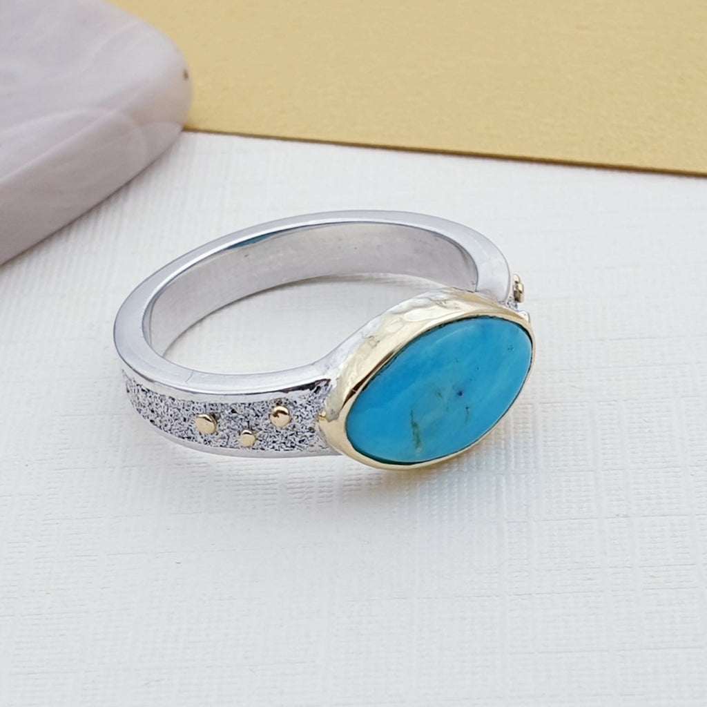 One-off Turquoise 18ct Gold and Sterling Silver Ring - Size N1/2