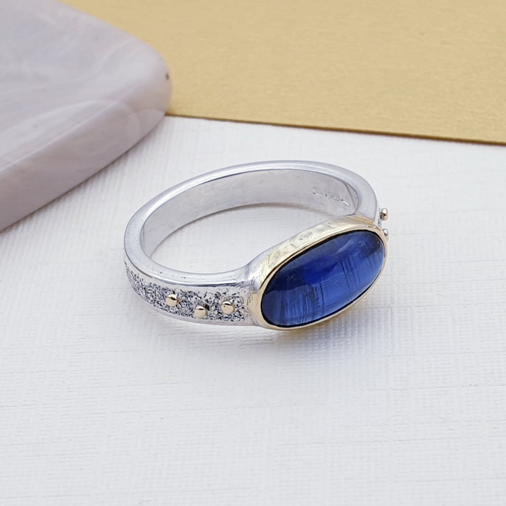 One-off Kyanite 18K Gold and Sterling Silver Ring - Size L