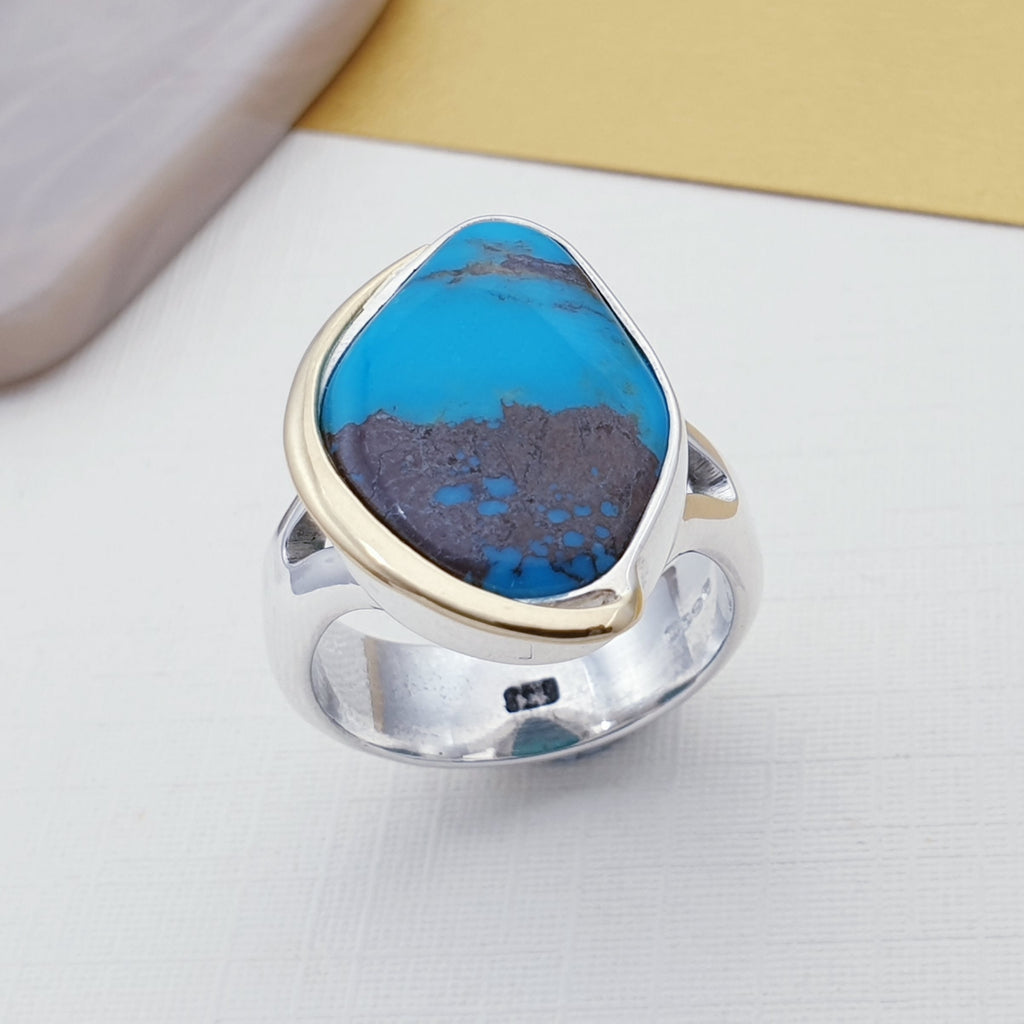 One-off Turquoise 18ct Gold and Sterling Silver Ring - Size O