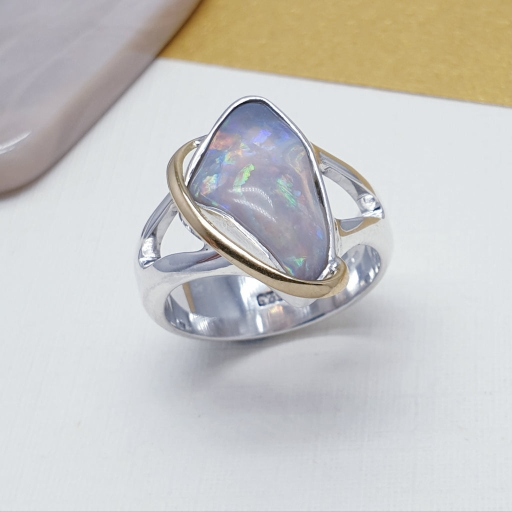 One-off Purple Opal 18K Gold and Sterling Silver Ring - Size N