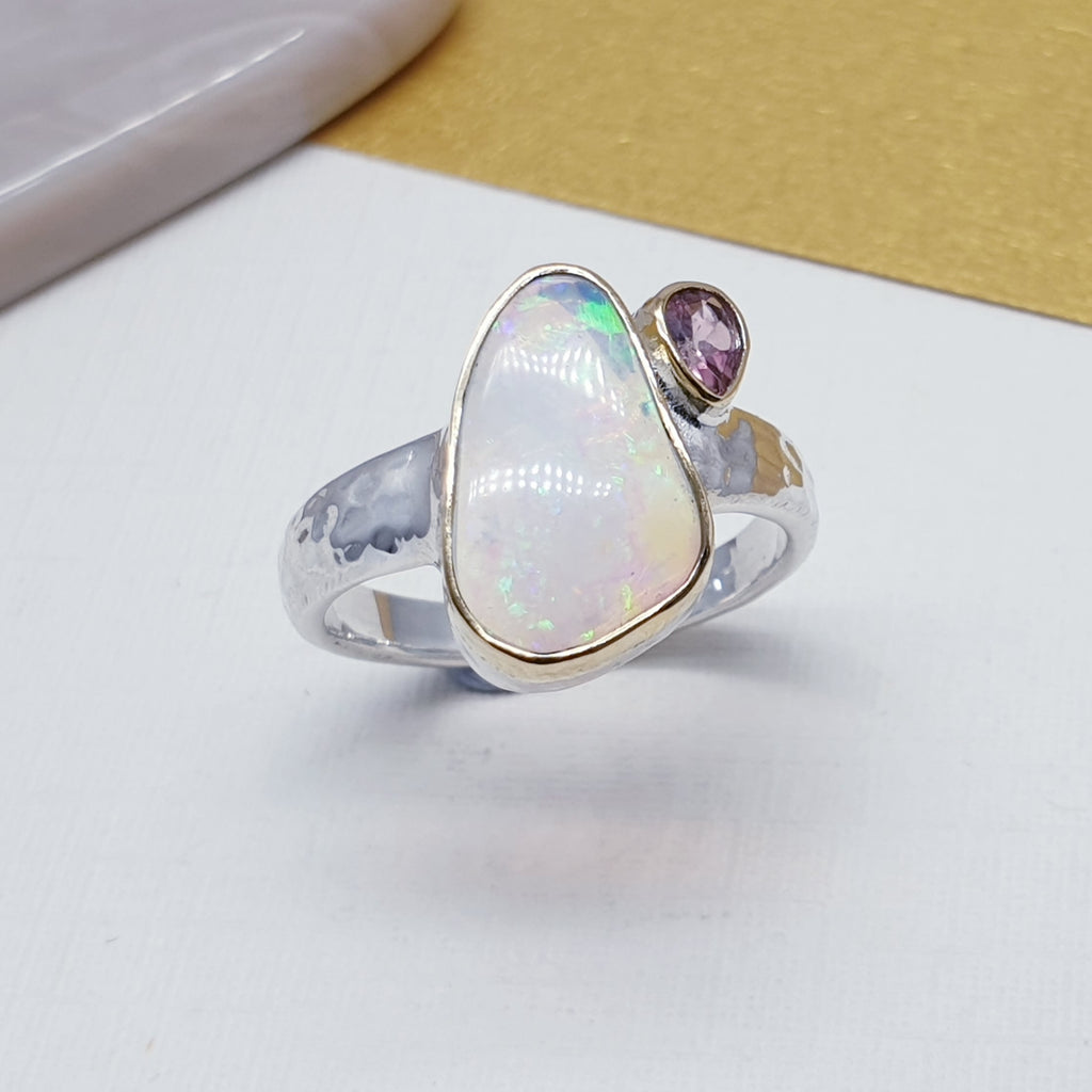 One-off Opal Shell and Tourmaline 18K Gold and Sterling Silver Ring - Size N