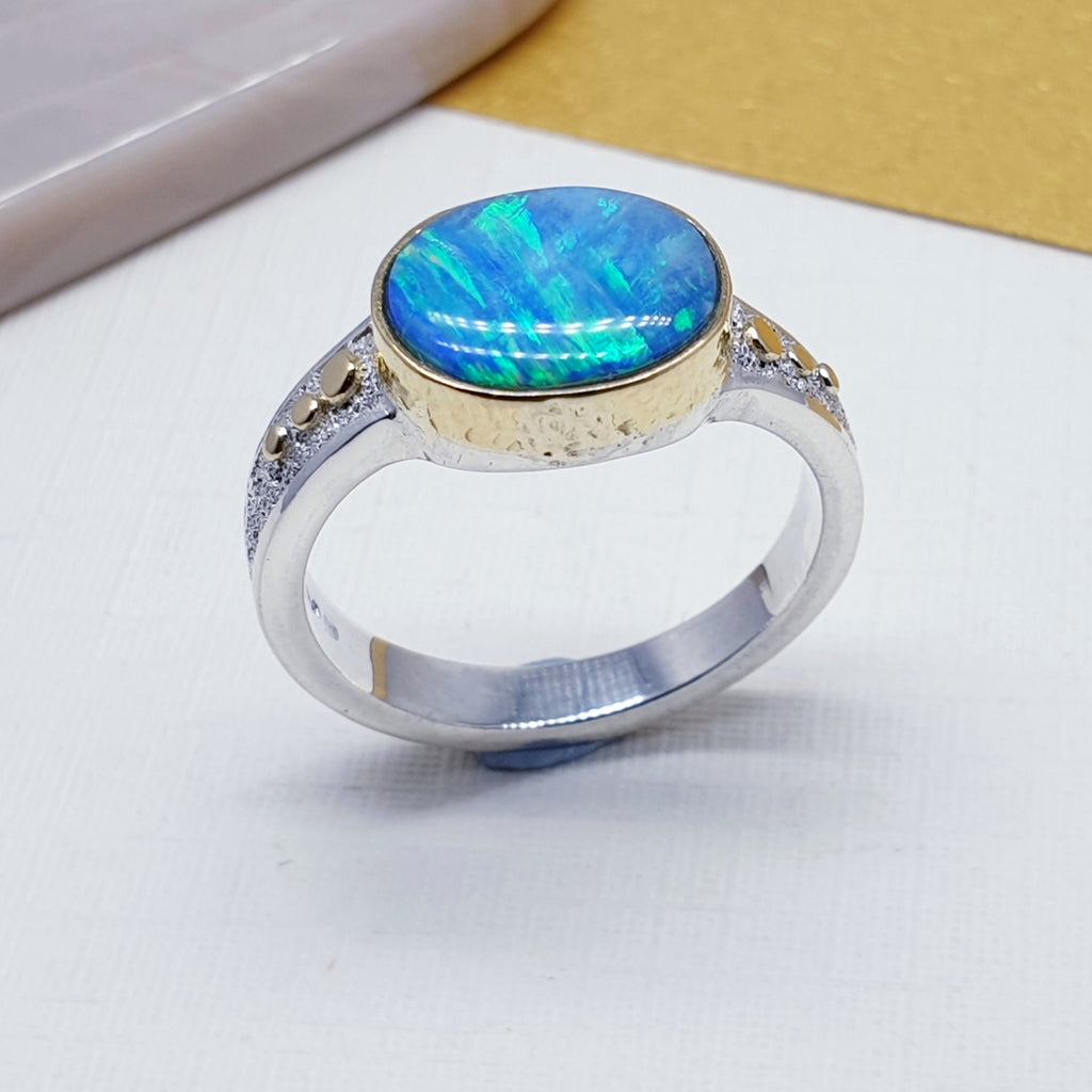 One-off Opal 18ct Gold and Sterling Silver Ring - Size Q