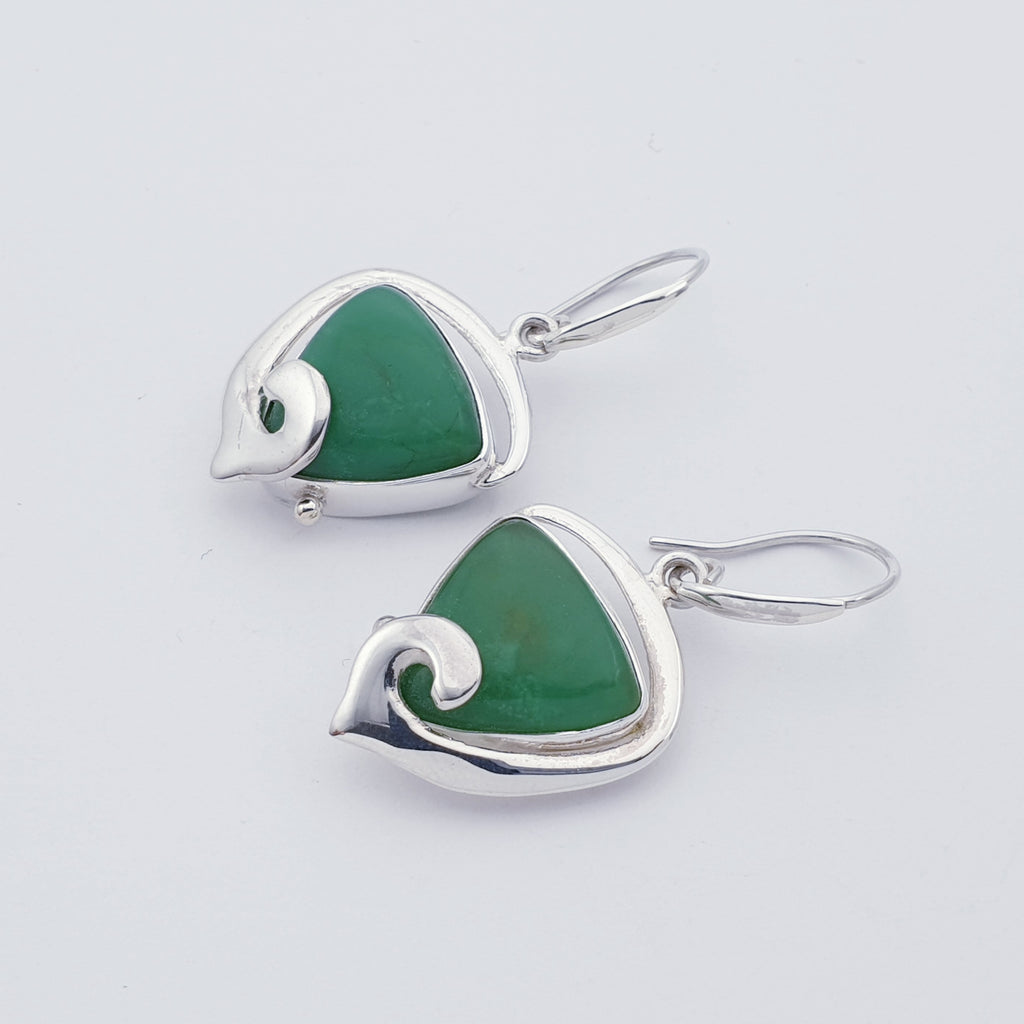 One-off Chrysoprase Swirl Earrings