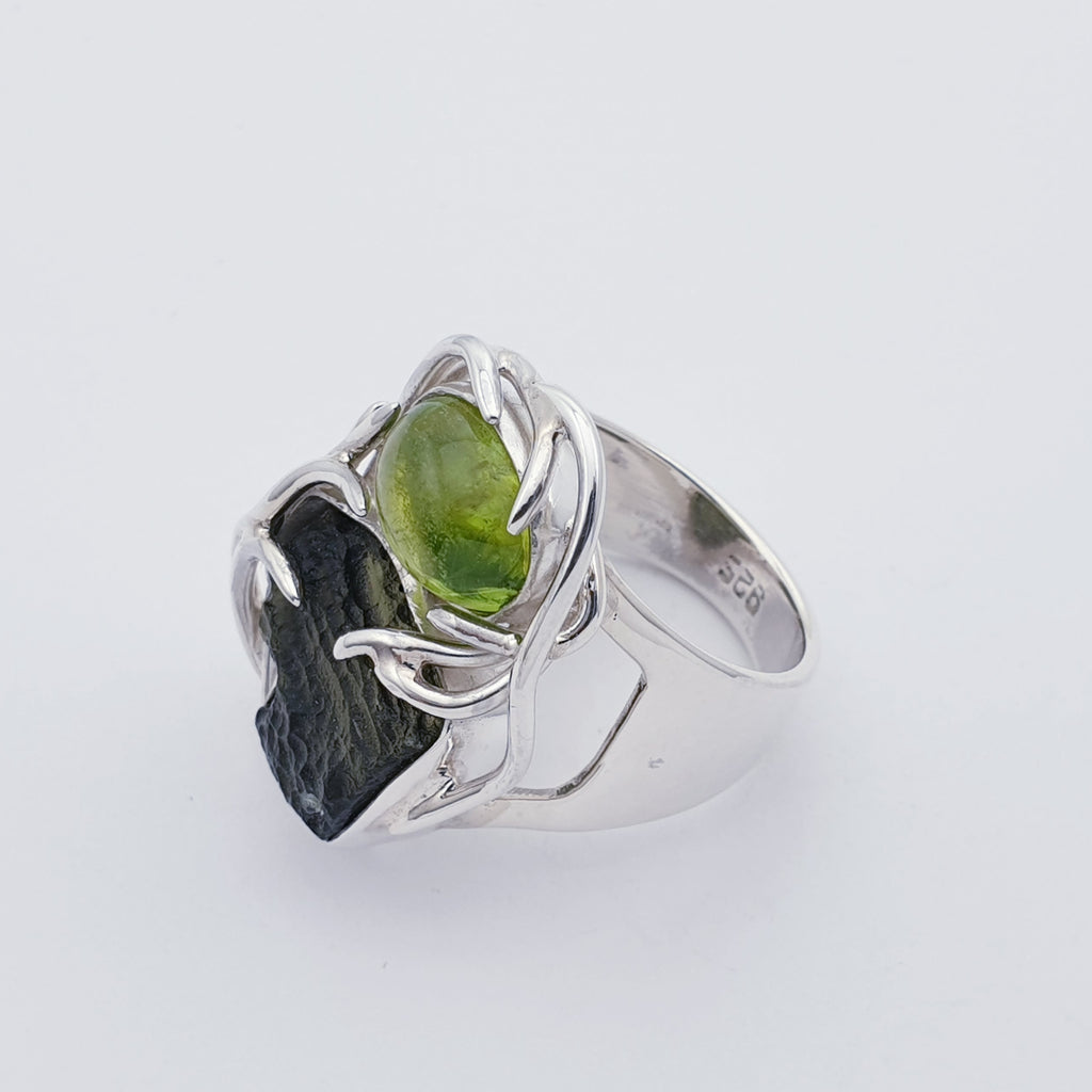 One-off Moldavite and Peridot Creeping Vines Ring