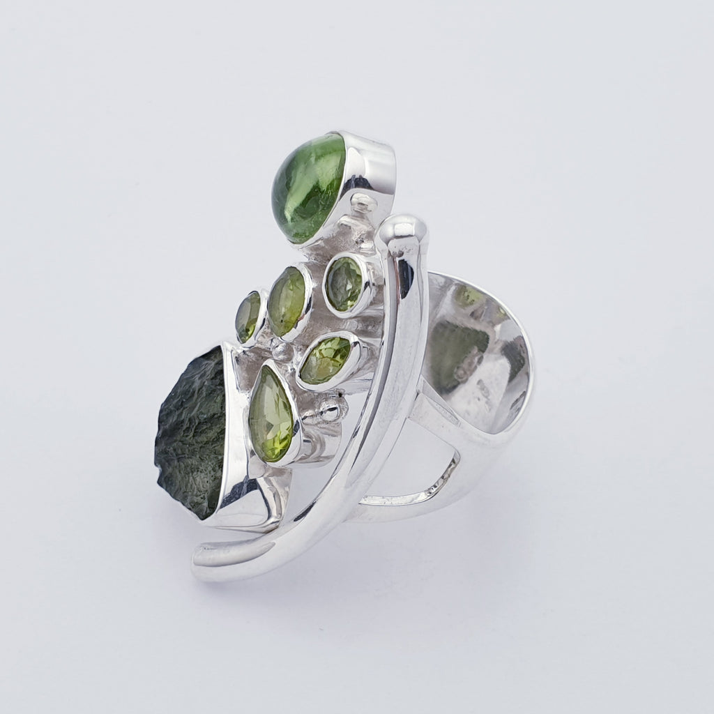 One-off Moldavite and Peridot Atea Ring - Size Q