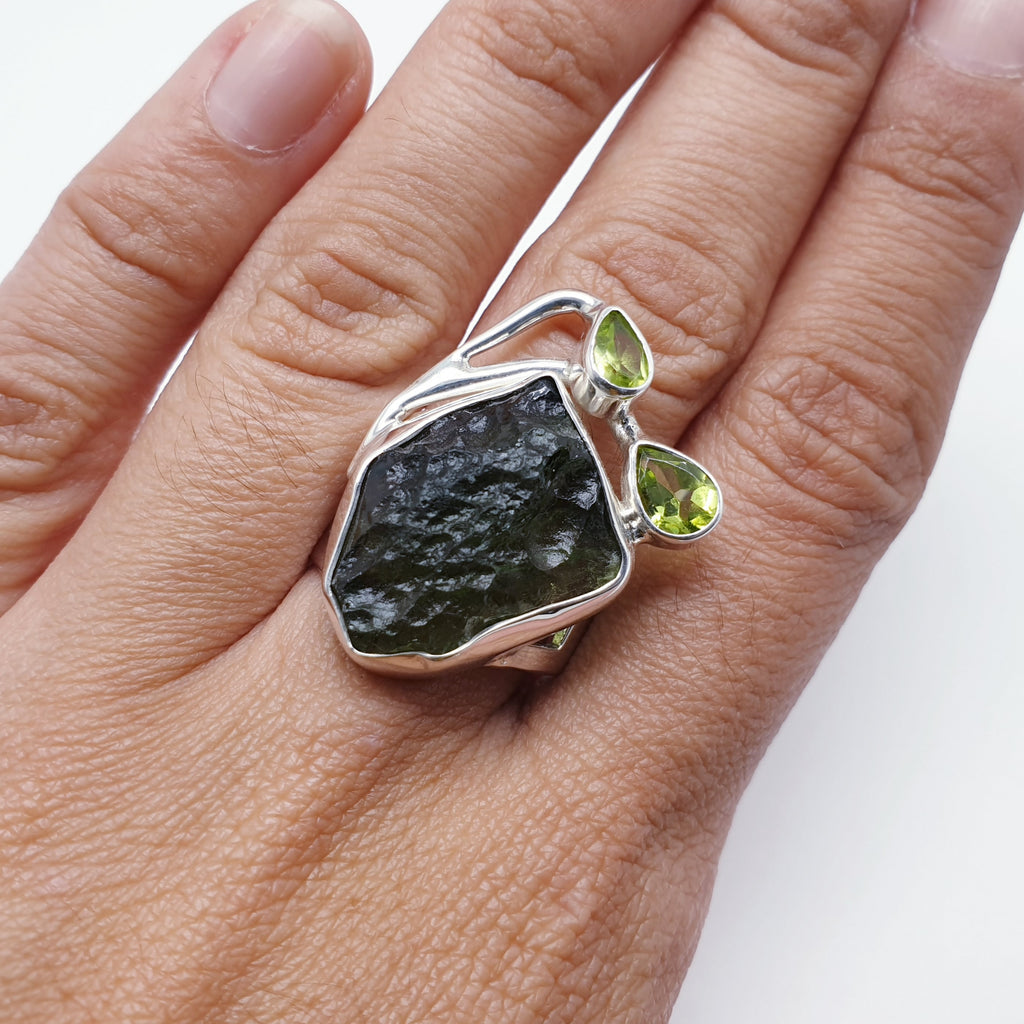 One-off Moldavite and Peridot Vine Ring - Size Q1/2