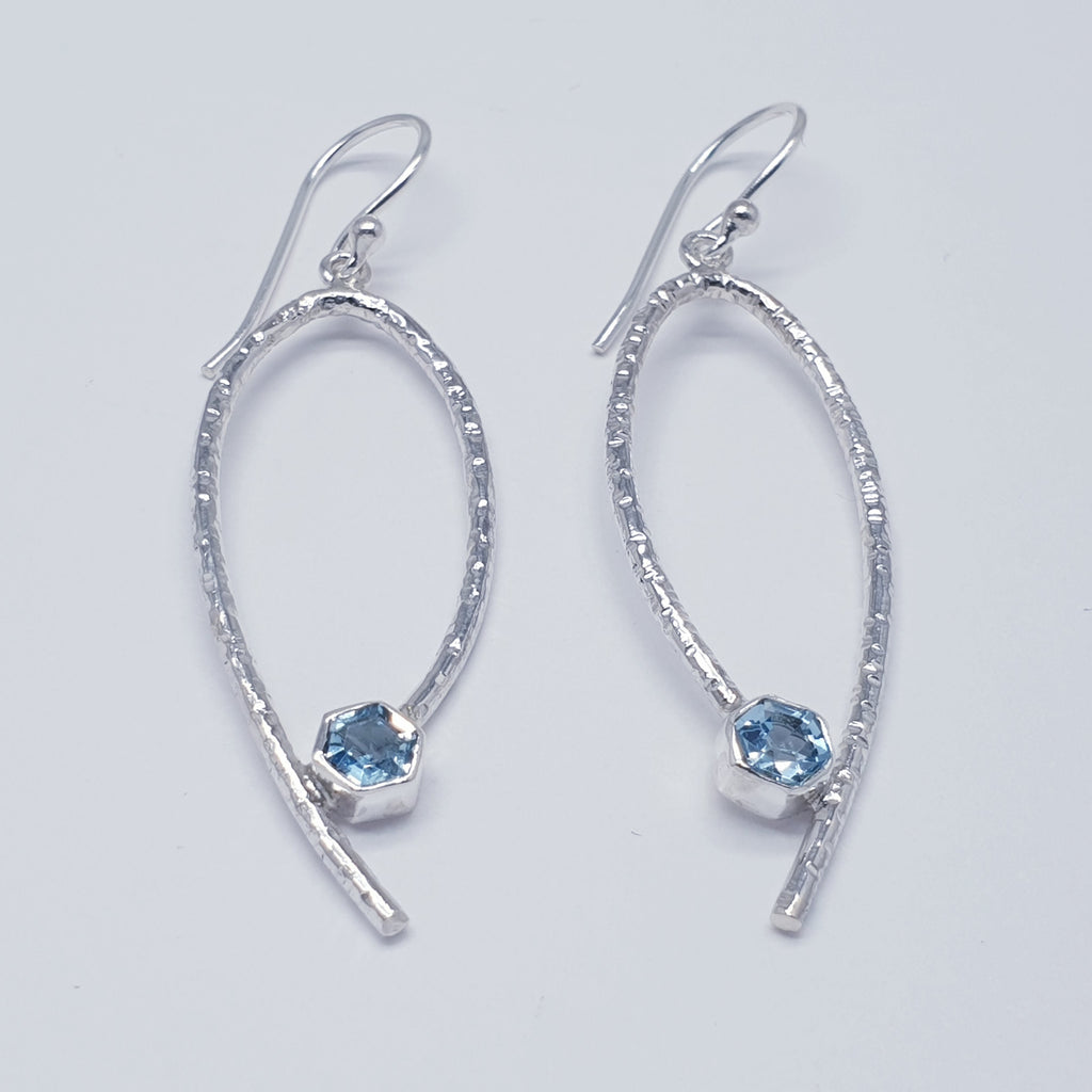 Blue Topaz Simple Hammered Earrings