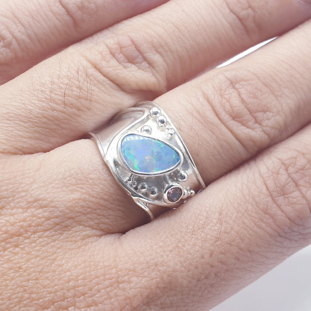 Opal and Tourmaline Wide Band Ring