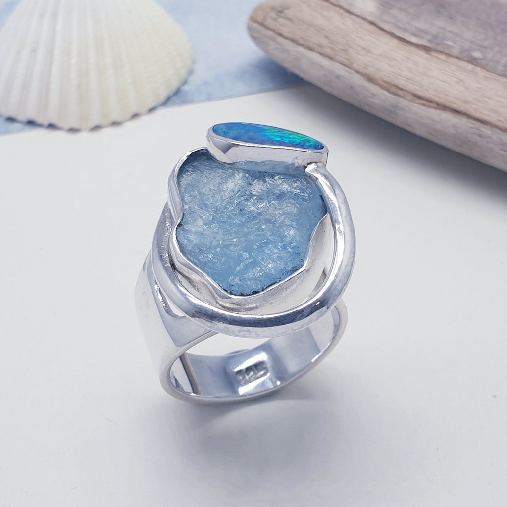 One-off Raw Aquamarine and Opal Makara Ring - Adjustable N-R