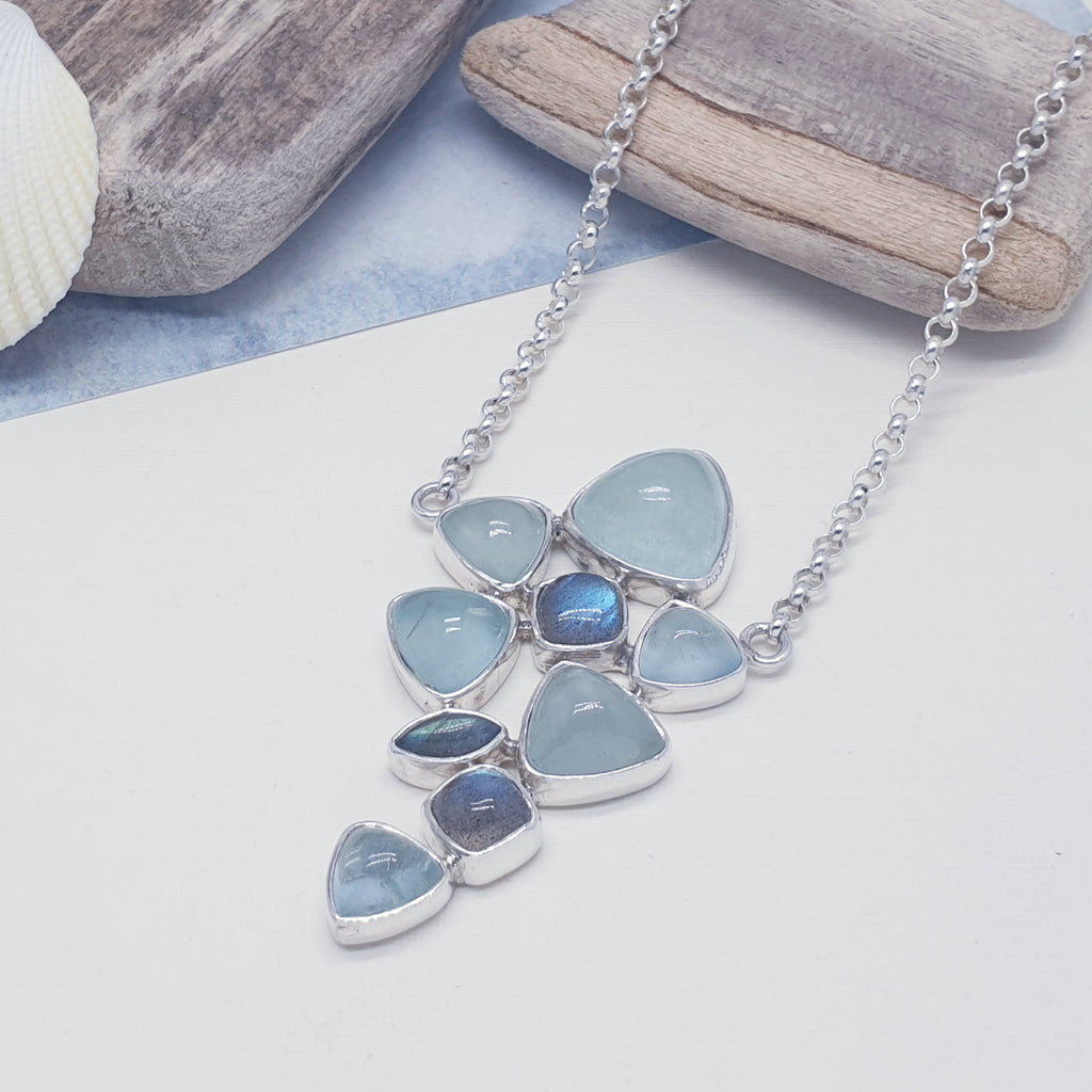 One-off Aquamarine and Labradorite  Multistone Necklace