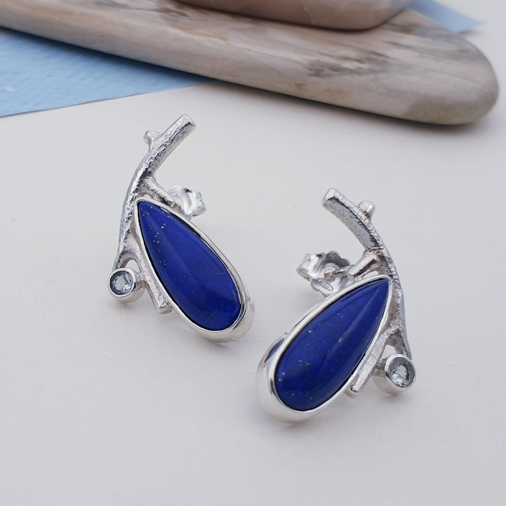 Lapis and Blue Topaz Twig Stud Earrings