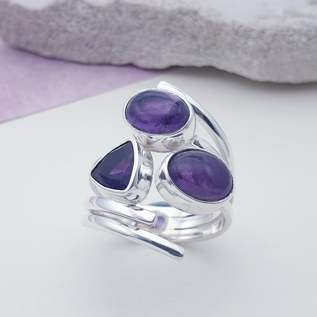 Amethyst Triple Stone Ring