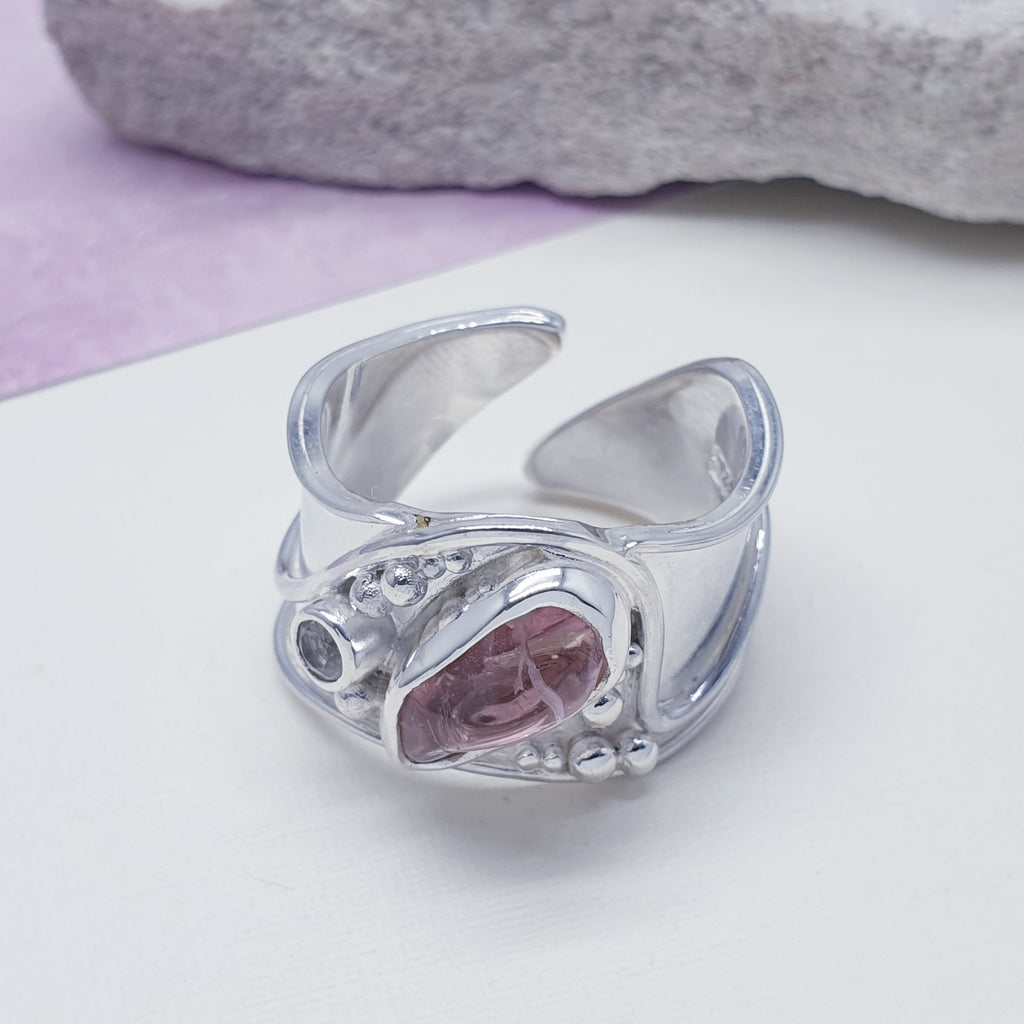 Tourmaline Wide Band Ring