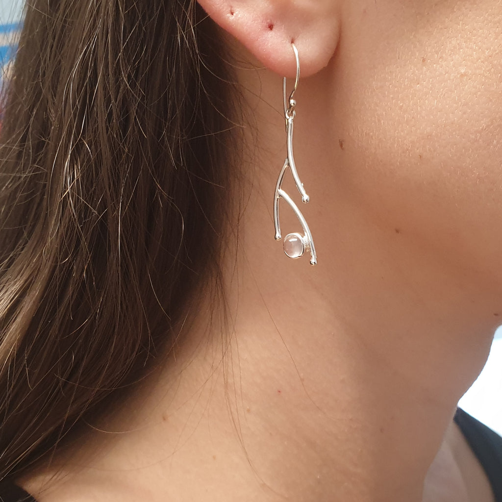 Rose Quartz Twig Earrings