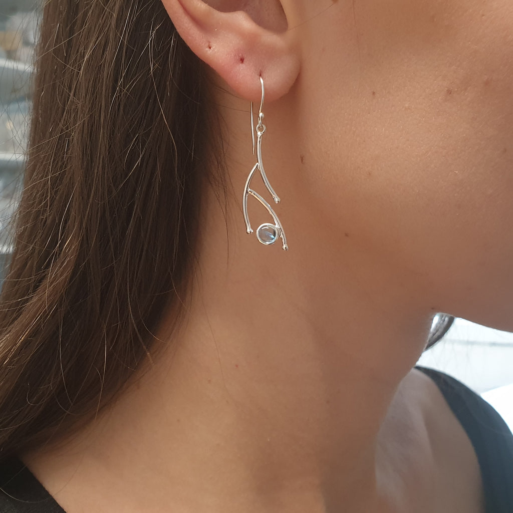 Blue Topaz Twig Earrings