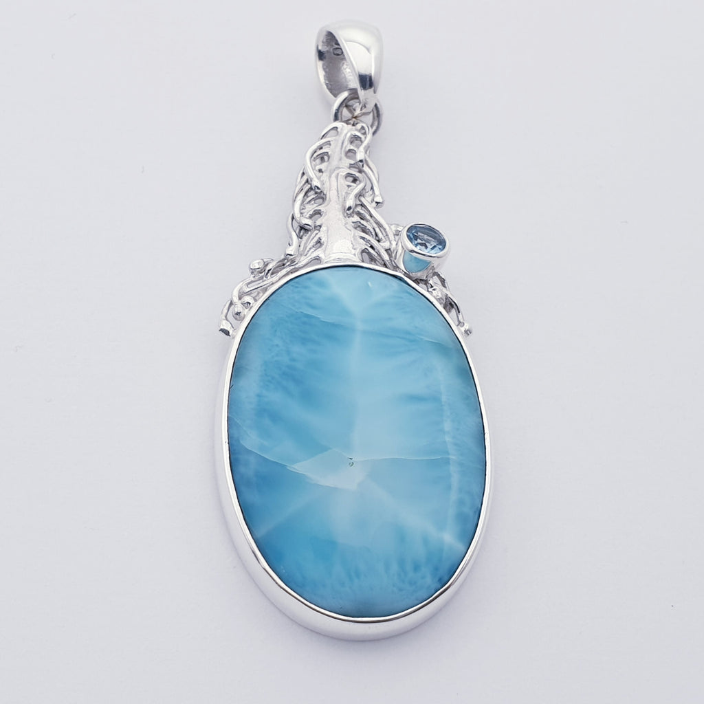 One-off Larimar and Blue Topaz Plume Pendant