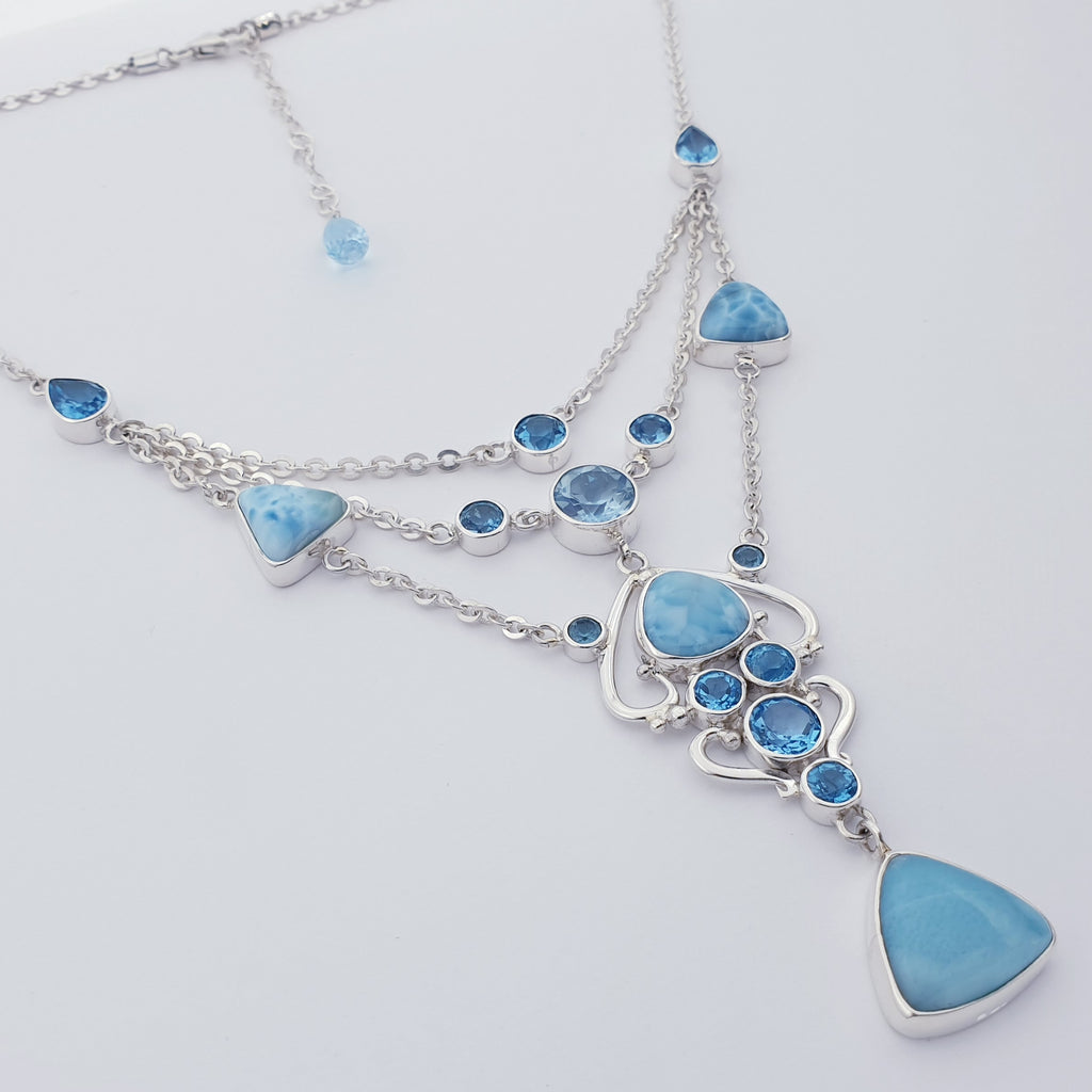 One-off Larimar and Swiss Blue Topaz Multilayer Necklace