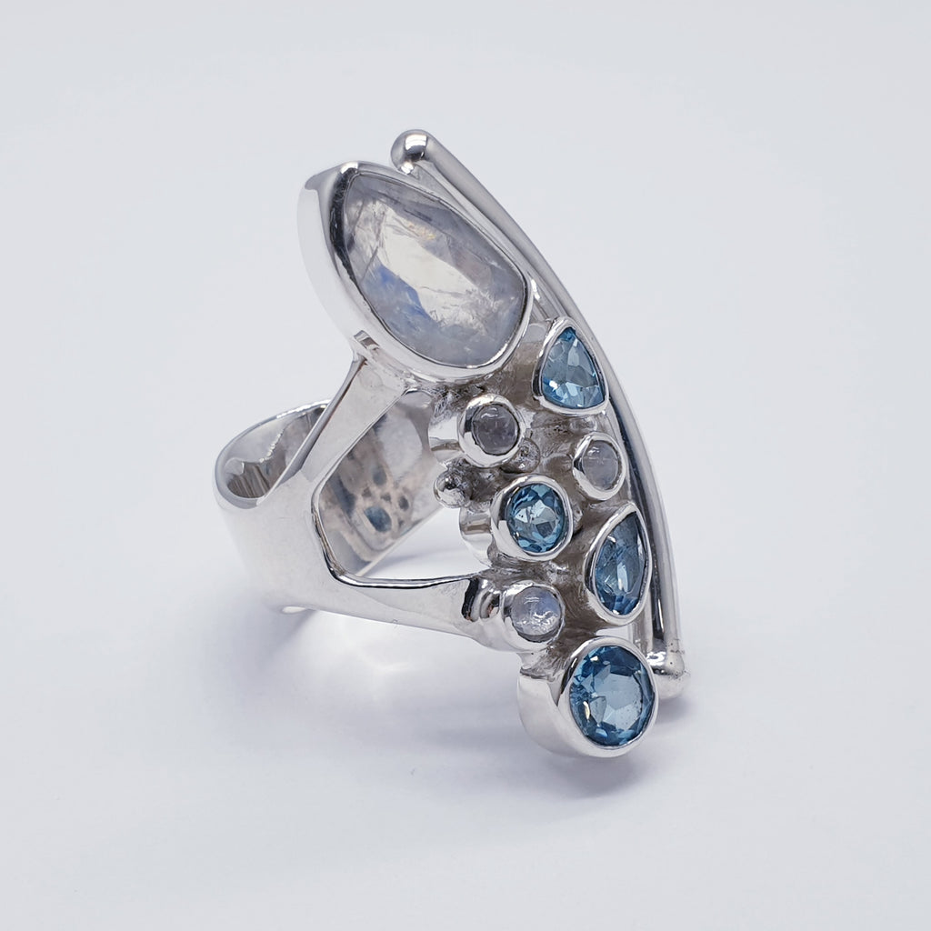 Moonstone and Blue Topaz Atea Ring - Ring size R