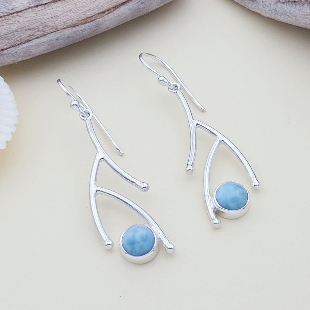 Larimar Twig Earrings