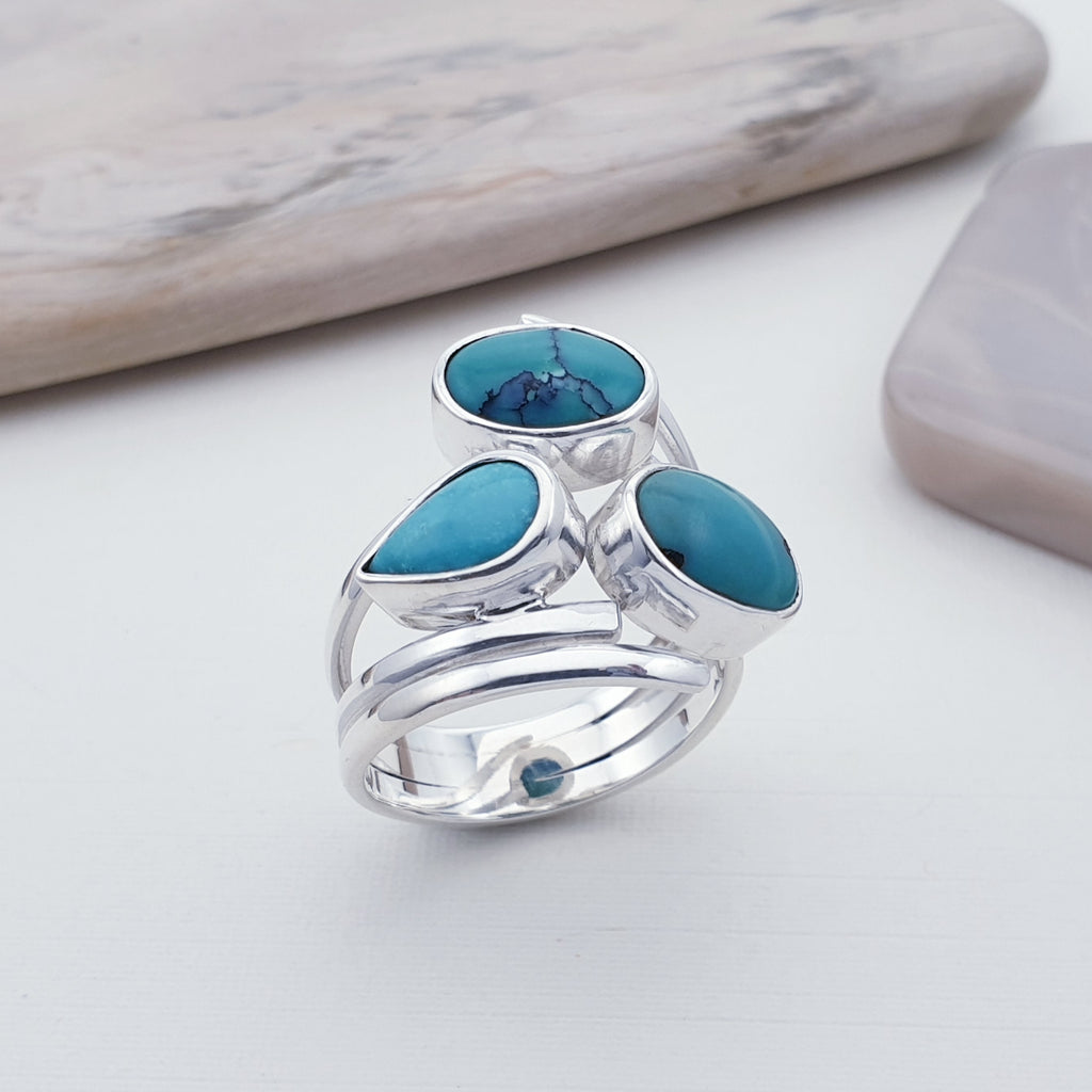 Turquoise Triple Stone Ring