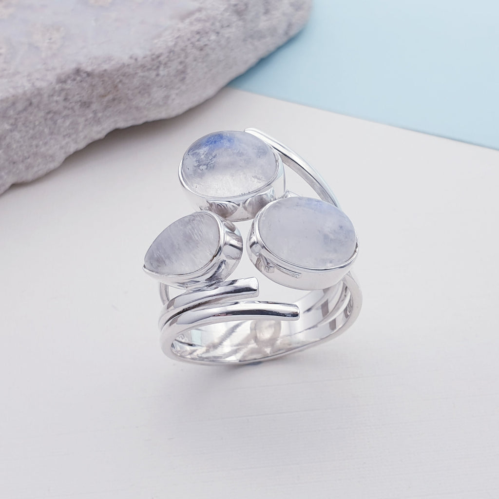 Moonstone Triple Stone Ring