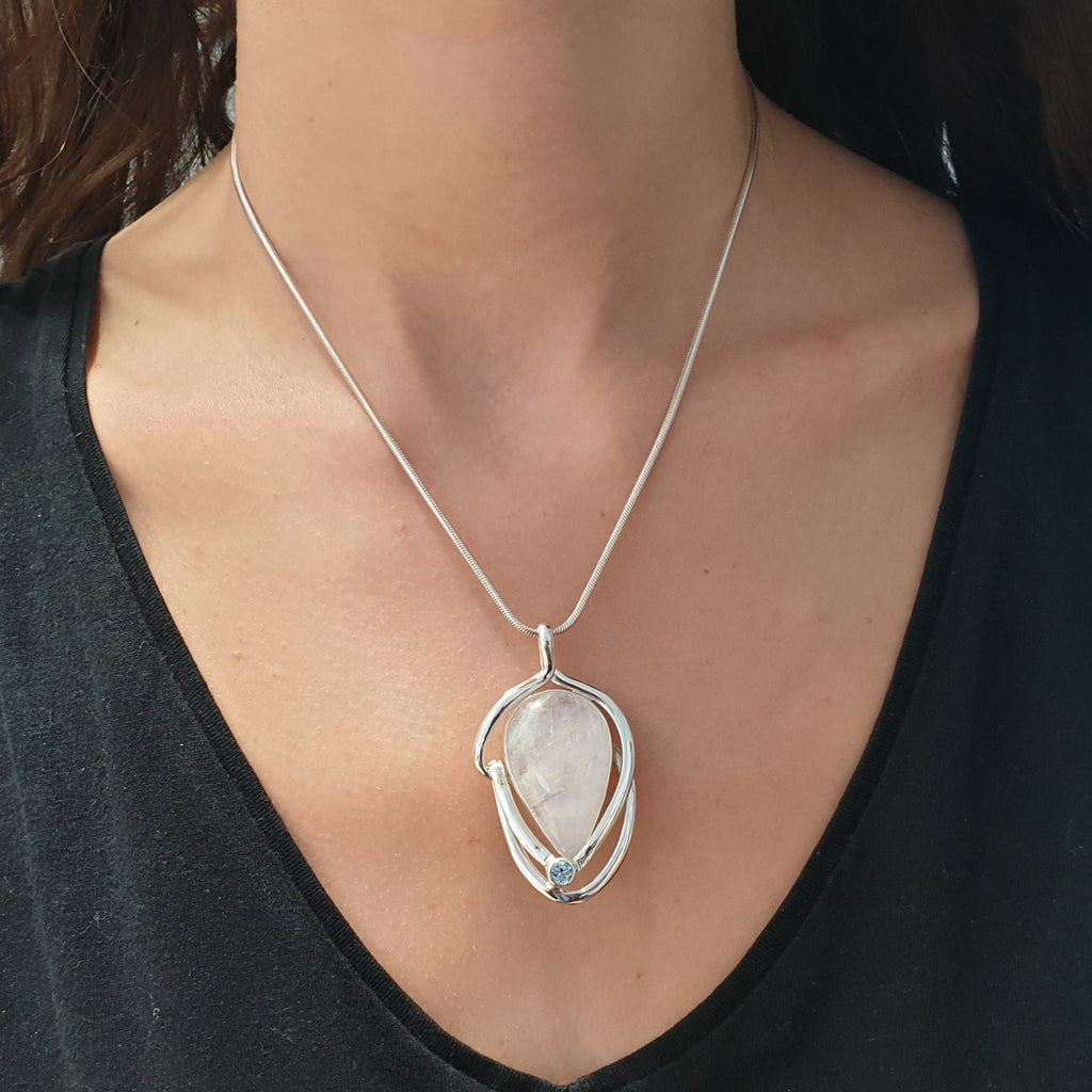 One-off Moonstone and Blue Topaz Bavaro Pendant
