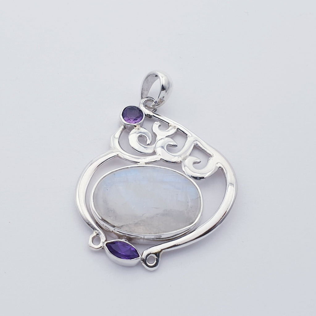 Moonstone and Amethyst Doodle Pendant