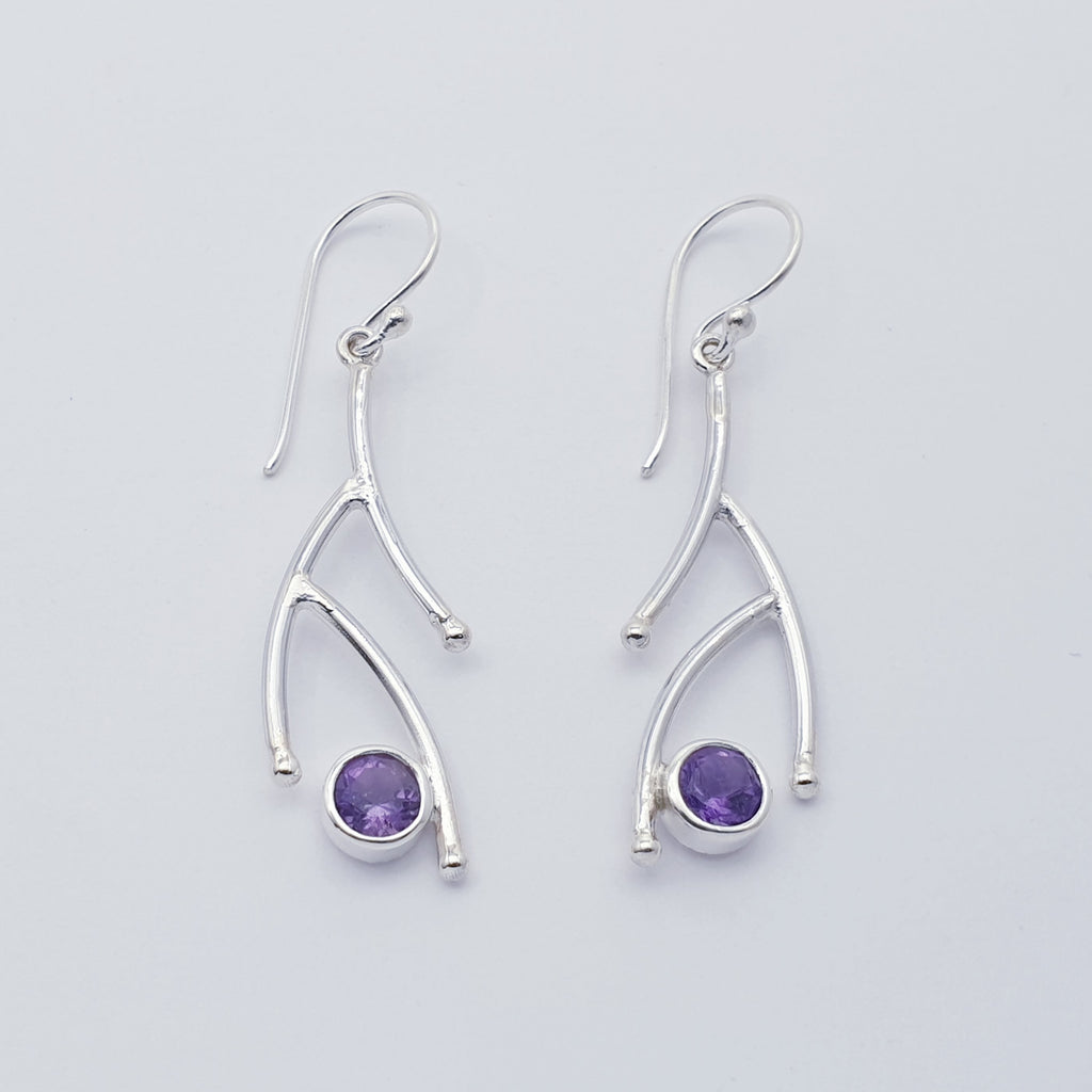 Amethyst Twig Earrings