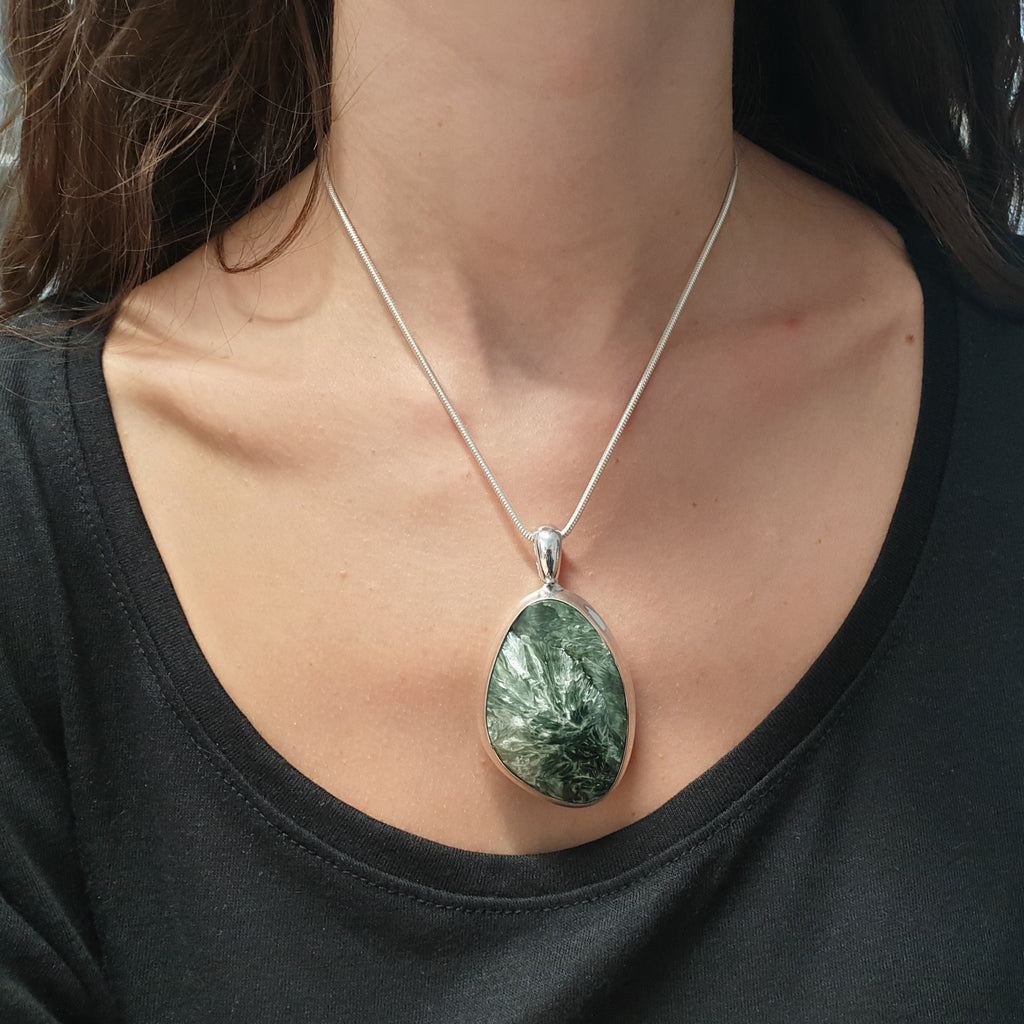 One-off Seraphinite Free Form Chunky Pendant