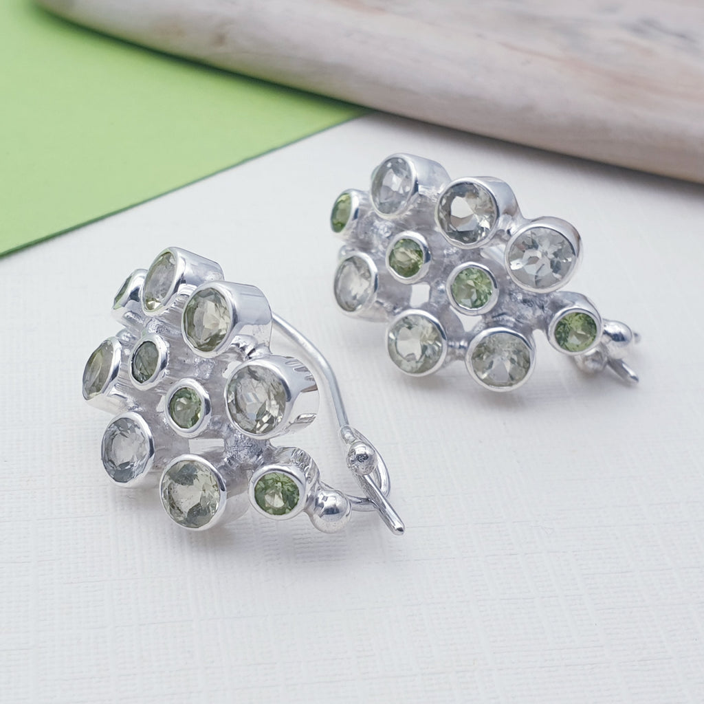 Lemon Quartz and Peridot Cluster Earrings