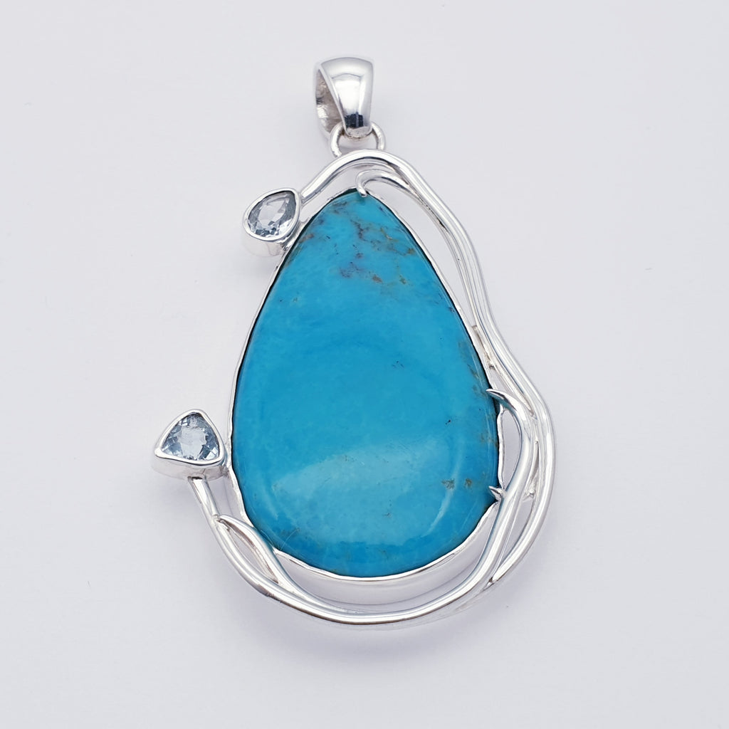 One-off Turquoise and Blue Topaz Pleoine Pendant