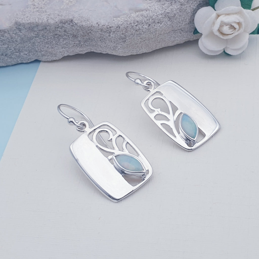 Opal Rectangle Vine Earrings