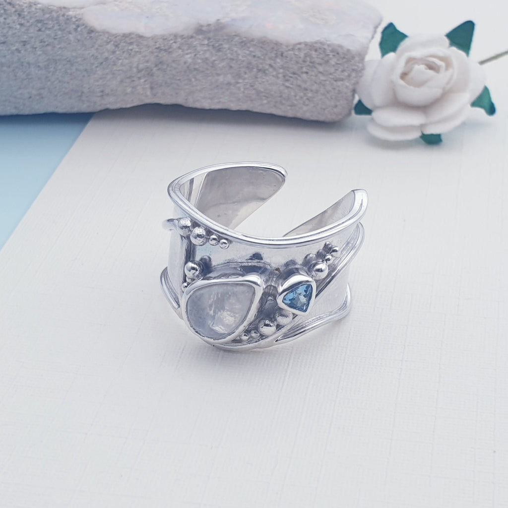 Moonstone and Blue Topaz Wide Band Ring