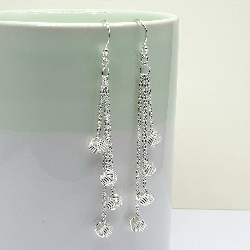 Silver Cascade Knot Earrings