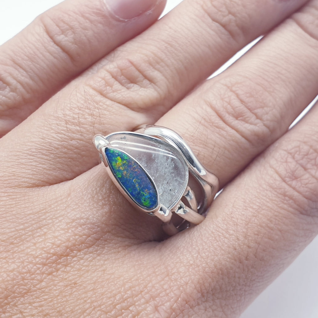 One-off Rough Aquamarine and Opal Cybele Ring - Size O