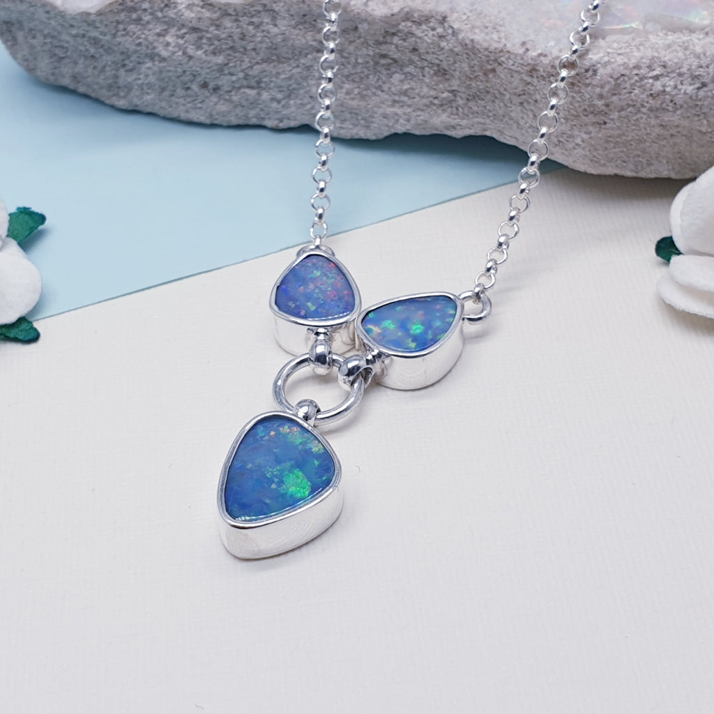 One-off Opal Small Three Stone Necklace
