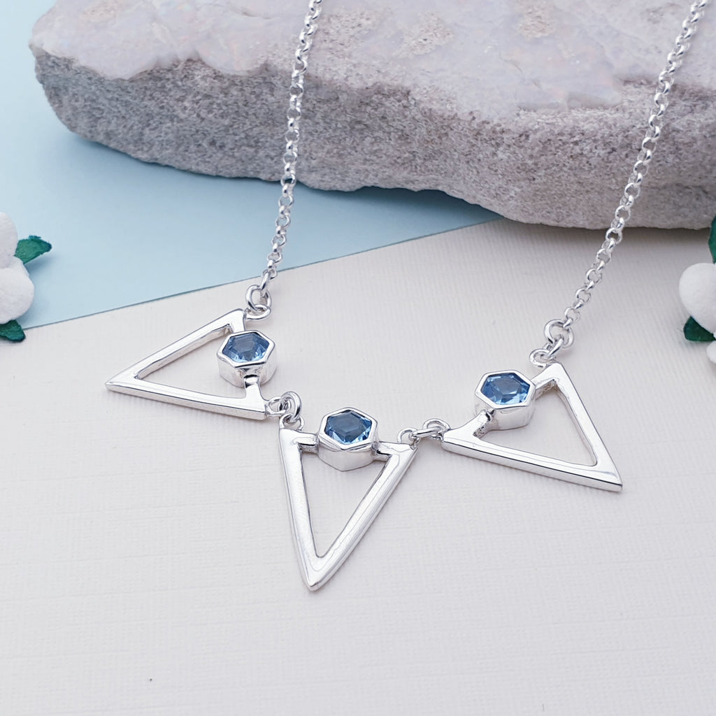 Blue Topaz Triangle Necklace