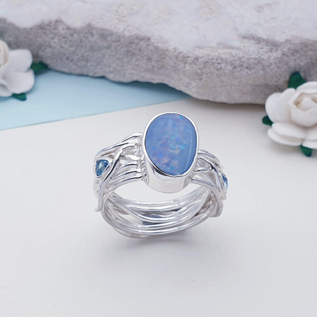 One-off Opal and Blue Topaz Intertwined Vines Ring - Size Q