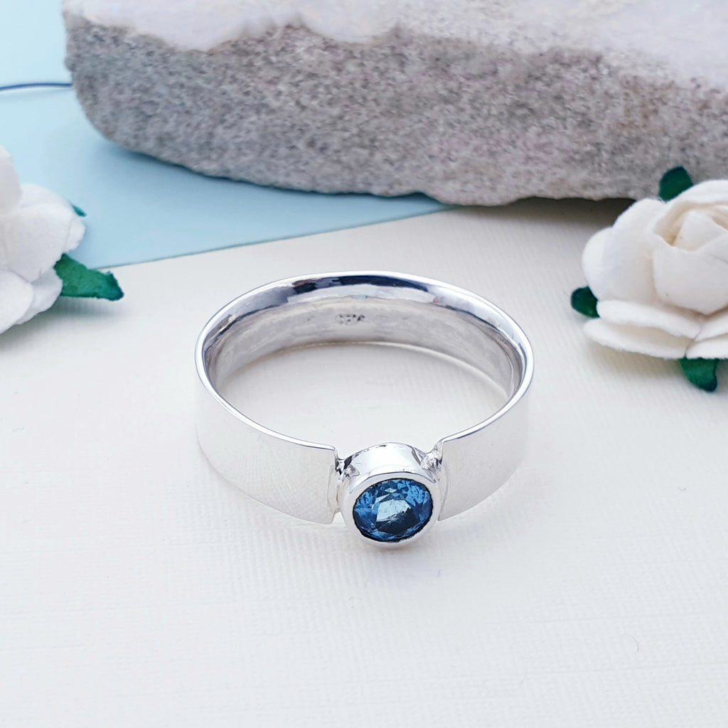 Blue Topaz Simple Flat Band Ring - Faceted