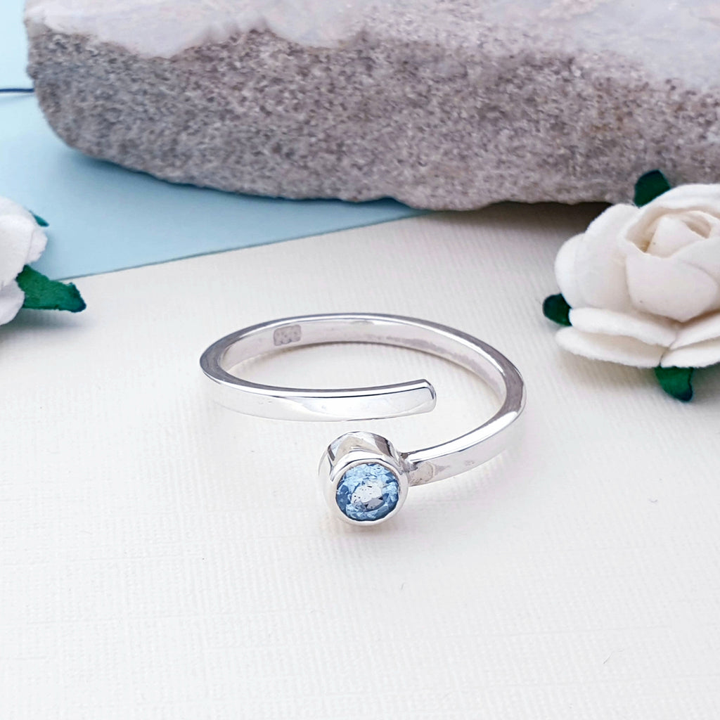 Blue Topaz Simple Spiral Ring
