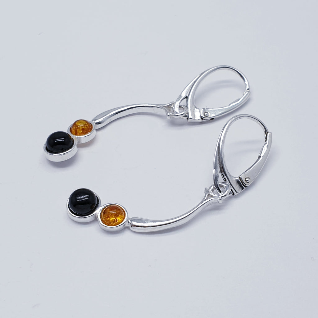 Toffee and Dark Cherry Amber Earrings