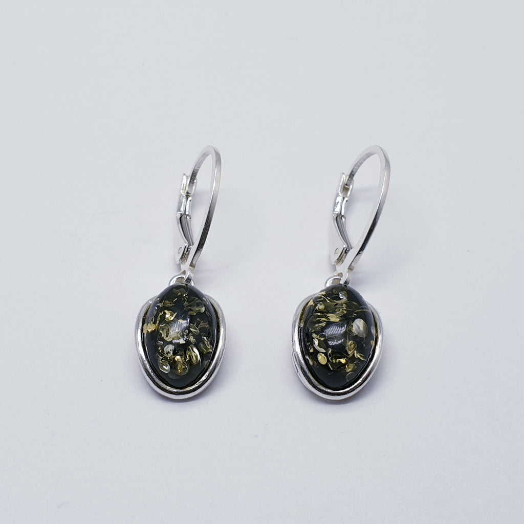 Green Amber Small Oval Earrings